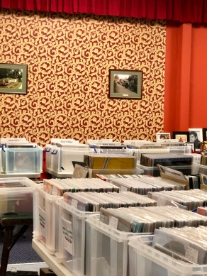 Stalls at a record fair.